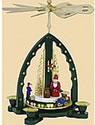 Pyramide Weihnachtsmann, grün Höhe 27 cm