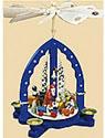 Pyramide Weihnachtszug, blau,  Höhe 27 cm
