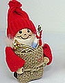 Weihnachtsmann mit Geschenkesack, h 8 cm