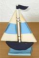 Segelboot blau, Höhe ca. 12 cm