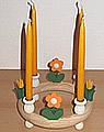 1 Holzstecker kleine Blume, orange