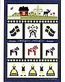 Schwedisches Geschirrtuch Schwedische Symbole, 47x70 cm, blau