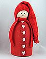Wichtel mit Herzband rot, 12 cm, OHNE Holzdübel