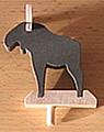 1 wood plug small Elk, dark grey