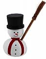 1 small snowman wit broom