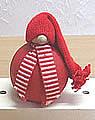 1 großer Tümmler Wichtel rot mit Schal rot/weiß