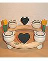 1 wood plug big heart, darkgreen