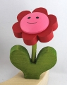 Nordika flower red/rose with face. 5 mm wood plug