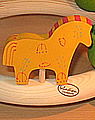 1 Holzstecker Pferd mit Deko gelb