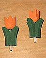 1 wood plug big tulip 4-leaved, orange