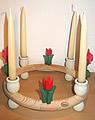 1 Holzstecker gr. Tulpe 4-blättrig, rot