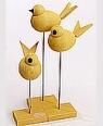 3er Set schwedische Vögel, gelb