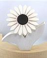 1 Nedholm Gerbera weiß/dunkelbraun, Blätter weiß