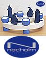 Nedholm Kranz oval für Teelichter  28 x 16 cm, weiß/blau