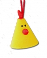 1 smal bird with tape, yellow, h 3 cm