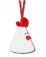 1 Mini-Vogel am Band, weiß, H 3 cm