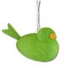 1  kleiner Vogel am Band, hellgrün, 4x3x2 cm