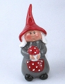 Swedish gnom woman Skoglund red/grey, h 11 cm