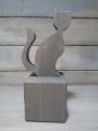 Talvel große Katze massiv mit Metallstab grau, ohne Holzklotz