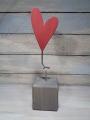 Talvel großes Herz rot massiv mit Metallstab