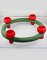 tea light ring 30 cm, darkgreen with red tealight holders