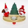 Set kleiner Holzkranz natur, Schneemann, Tanne, Weihnachtsmann, Glasteelicht, Ø 18 cm