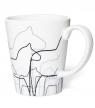 schwedische Tasse Dalapferde, weiß, 8 x 10 cm