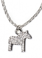 swedish necklace Dalahorse crystal silver, 42 cm