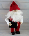 Butticki big Sante with present bag and white beard, white/red, h 21 cm