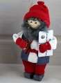 Butticki Santa with present, red/white, 14 cm