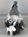 gnome with white elk, genuine sheepskin, grey knitted cap, h 10 cm
