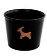 Rotor Keramik-Blumentopf, Motiv Ziegenbock, schwarz