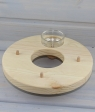 wood ring nature, diameter 18 cm, with glas tea light holder, and 3 holes 6 mm for figures