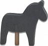 1 Holzstecker großes Pferd, dunkelgrau