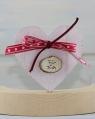 1 großes Herz rosa mit Schleife u. Holzschild Für Dich, H 7,5 cm
