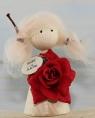 Mädchen mit Rose und Holzschild Alles Liebe, H 9 cm