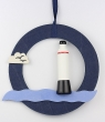 Swedish window picture lighthouse, blue, 23 cm