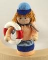 Strand Junge mit Rettungsring, H ca. 9 cm