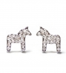 swedish stick earrings Dalahorse crystal silver, 10x10 mm