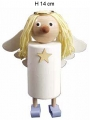 big angel white/light blue, yellow hair, h 14 cm