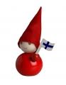 Aarikka Suomi Tonttu red with finnish flag, h 11 cm