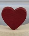 1 wood plug big heart, dark red