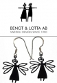 Bengt & Lotta earrings DRAGONFLY, black