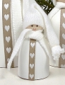 Gnome with heart ribbon white, 8,5 cm