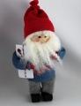 Butticki Santa mit Geschenk, blau grau, 15 cm