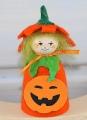 Halloween - Blumenkind Kürbis orange/grün, h 7,5 cm