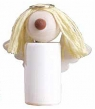 großer Engel mit Heiligenschein, gelbe Haare, weiß