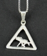 swedish jewelley pendant Warning sign moose silver, 2x2 cm without necklace