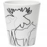 schwedische Tasse Elche, weiß, 8 x 10 cm, Blumentopf, Teelichthalter