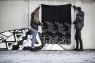 schwedische Fleece-Decke Rentier, schwarz, 130x170 cm